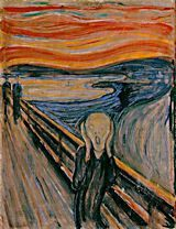 "Munch, Edvard. The Scream, 1893.  Munch was out walking with friends one night when, he wrote, ""Suddenly the sky turned blood-red [and] I stood there trembling with anxiety and I felt a great, infinite scream through nature."" The Scream remains the most famous of modern art's expressions of anxiety and alienation. Norwegian Symbolist painter was influenced by Van Gogh and Gauguin, and went on to inspire the Expressionists. his art of melancholy, sickness, jealousy, and sexuality."