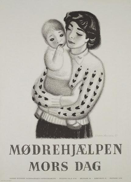 """Aage Sikker Hansen: Mother's Day poster for """"Mother's Help"""" organization"""
