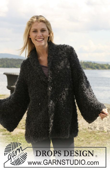 """Comfy, Cozy and Cute!! Knitted DROPS jacket with collar in """"Puddel"""". Size S - XXXL. ~ DROPS Design"""