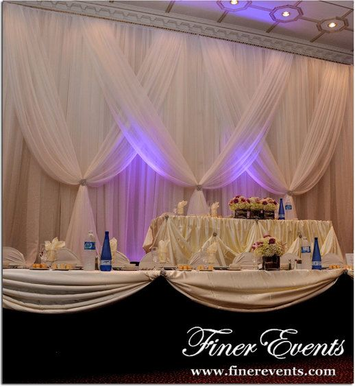 Magical Wedding Backdrop Ideas: Tiered Head Table And Overlay Backdrop With Uplighting