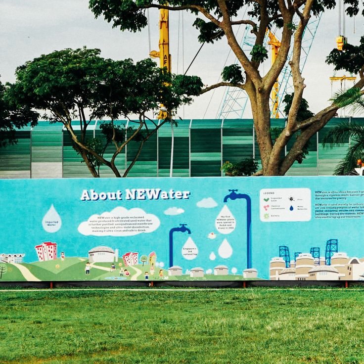 A series of outdoor environmental graphic for the NEWater Visitors Centre while it was constructing a new wing. The 100 metre-long educational hoarding boards were given a vibrant and youthful look which targets at the younger crowd. Adapted from PUB's Friends of Water graphic, we illustrated a story that flow from 'Welcoming', Singapore 4 national taps, the background of NEWater to the various filtration methods.   Client: Public Utilities Board (PUB).