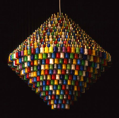 #recycled mini party popper plastic #bottles as chandelier  sc 1 st  Pinterest & 42 best Recycled chandelier images on Pinterest | Chandeliers ... azcodes.com