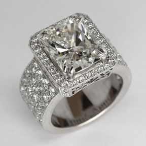 Cushion Cut Diamond Ring with Diamond Pave details from Oliver Smith Jeweler.