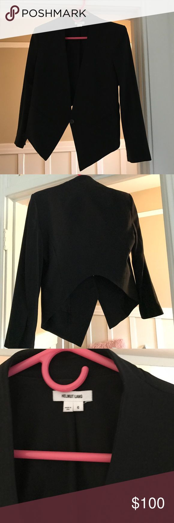Helmut Lang Blazer Black like new blazer. Tuxedo style in front and shorter in back. Looks great with long blouses, just too big for me. Only imperfection are thread loops in back (shown). Helmut Lang Jackets & Coats Blazers