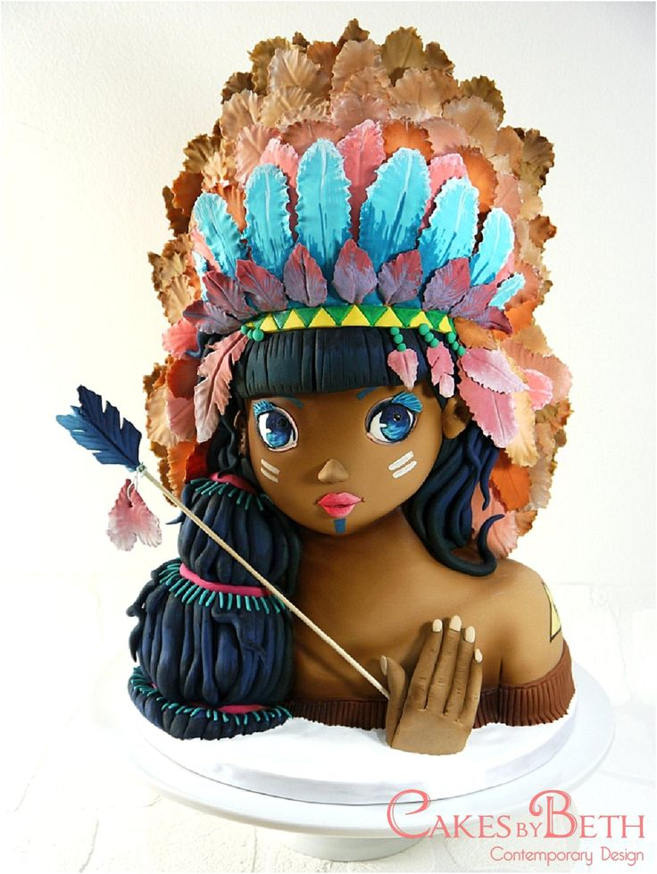 Cakes by Beth, Threadcakes 2014. Tiger Lily Native American girl, bust cake