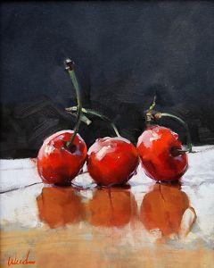 "BoldBrush Painting Competition Winners Finalist Award Sponsor: FASO Judge: Tibor Nagy ""Cherries"" by Steve Weed 20 x 16 Oil"
