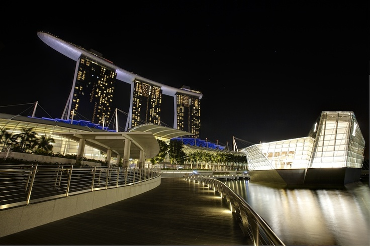 Louis Vuitton building. Singapore Marina Sands Bay. HDR.
