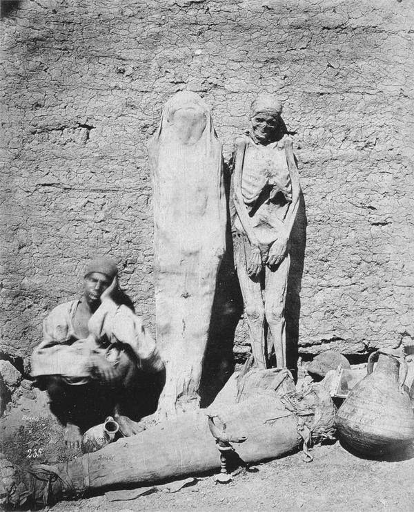Man selling mummies in Egypt, 1875