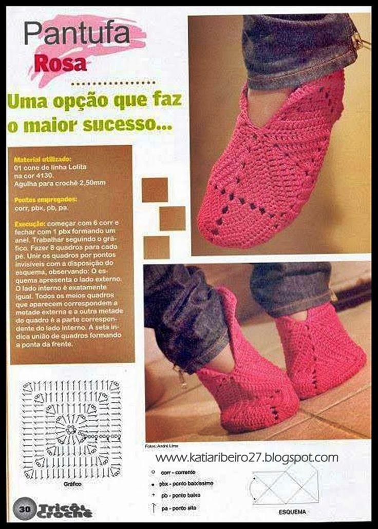 Katia Ribeiro Acessórios: Sapatinhos ( Pantufas ) em crochê com gráficos