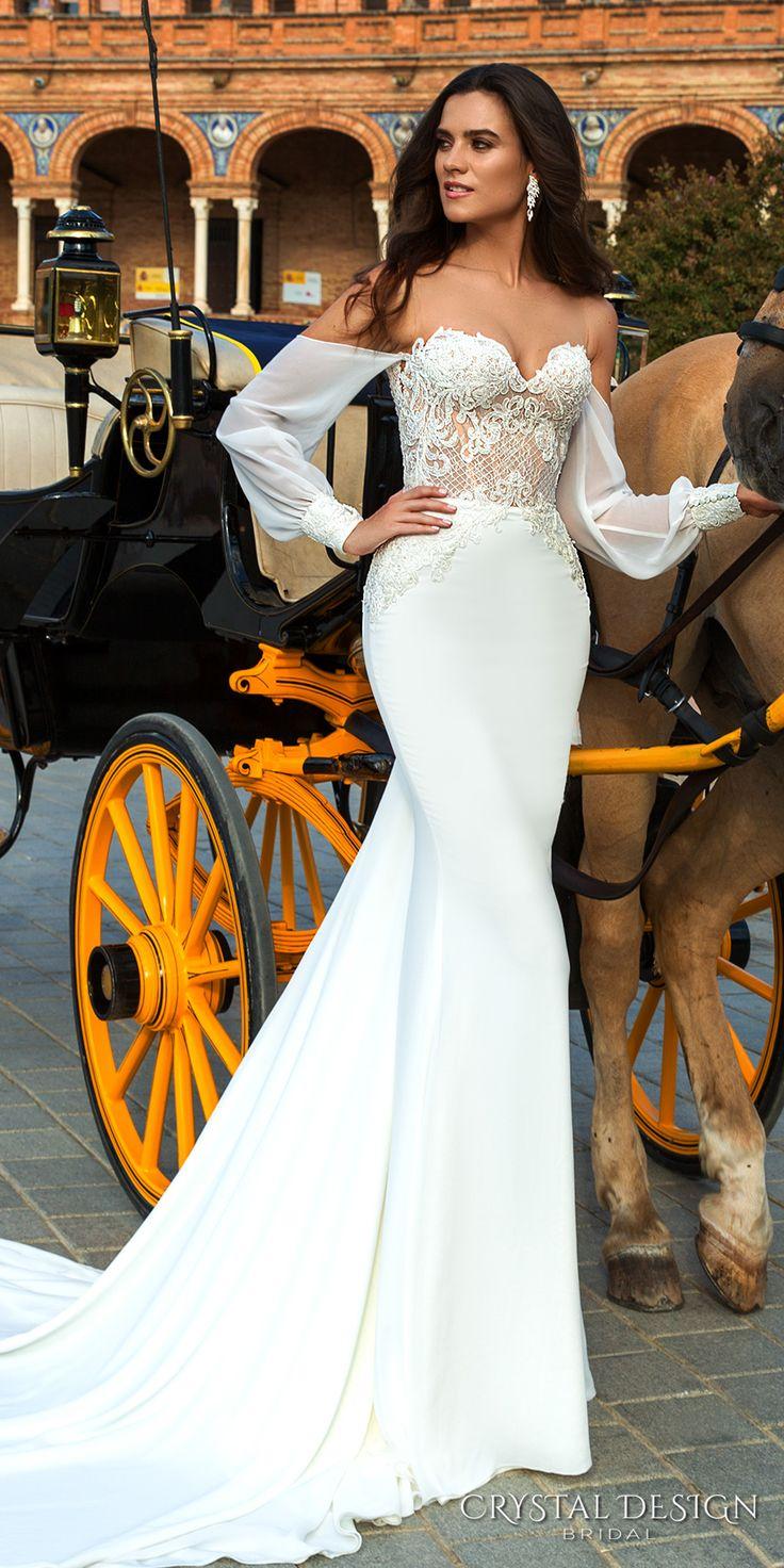 Crystal Design 2017 bridal long bishop sleeves sweetheart neckline heavily embellished bodice elegant sheath wedding dress chapel train (heyly) mv #wedding #bridal