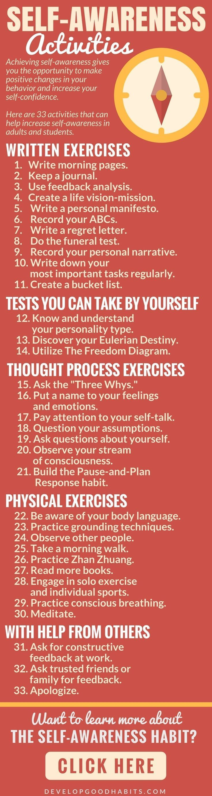 33 activities that increase self-awareness  Self-Aware | Mindful | Mindfulness | Self Care | Self Help | Self-Awareness activities | Self Awareness quotes | Self-awareness lessons | Truths | emotional | psychology | Journal | journaling | self awareness b