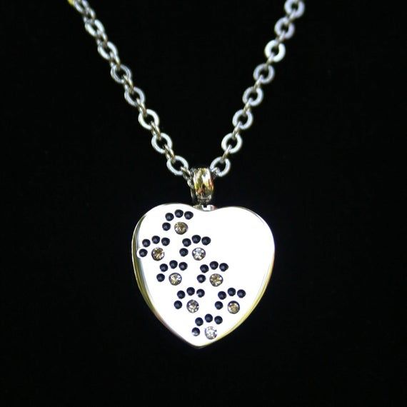 Crystals Paws on My Heart Pet Cremation Jewelry for Ashes Urn Necklace Ash Pendant Dog Cat Pawprint Memorial Gift Stainless Steel Chain Loss