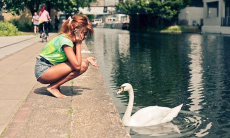 The young lady does not mind the goose next to her, maybe talking with her boyfriend or a relative.