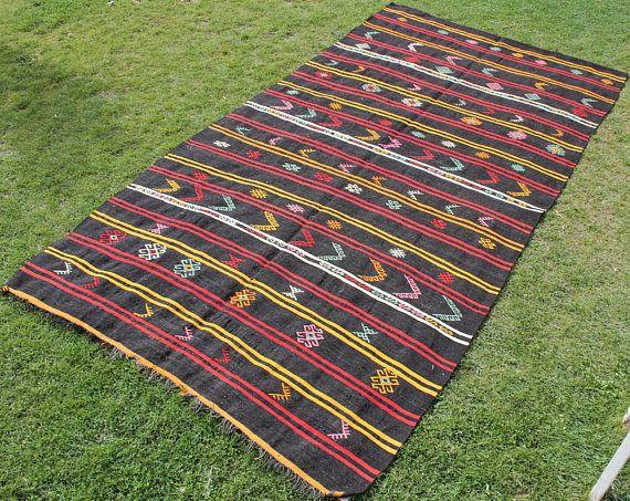 Red and black big size kilim rug, modern area #housewares @EtsyMktgTool  #redandblackkilim #bigsizekilimrug #modernarearugs