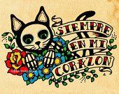 Giorno del Dead CAT Dia de los Muertos arte stampa 5 x 7, 8 x 10 o 11 x 14 - donazione a Austin animali vivi