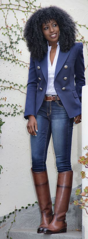 Jeans ~ blazer ~ Brown Leather Riding Boots by Style Pantry