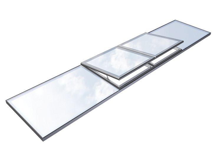 Modulaire vlakke lichtstraat met Sky Only View, Glazing Vision Europe, Het Flushglaze modulaire dakraamsysteem is ontwikkeld voor het samenvoegen van dakramen om grote glazen oppervlakken te creëren.  Deze kunnen rond, langwerpig, ovaal of driehoekig zijn. Ook andere maatwerkvormen zijn gee...