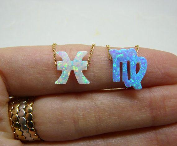 Joyería zodiacal, collar zodiaco, collar de astrología, collar de Horóscopo, Opal zodiac encanto, collar de signo zodiaco