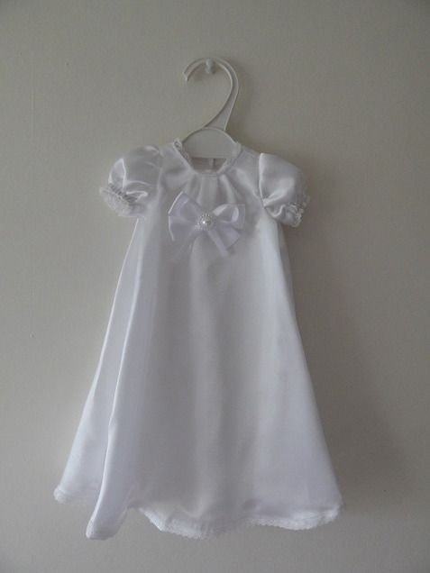 Girls Baby Burial Gown Long White Satin Bow Born 23 25