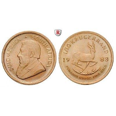 Südafrika, Republik, 1/10 Krügerrand seit 1980, 3,11 g fein, bfr.: Republik seit 1961. 1/10 Krügerrand 3,11 g fein, seit 1980.… #coins