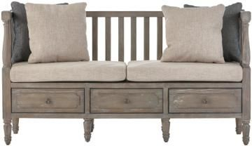 Archer Rustic Bench with Cushions and Pillows - Entryway Bench - Mudroom Bench - Storage Bench | HomeDecorators.com