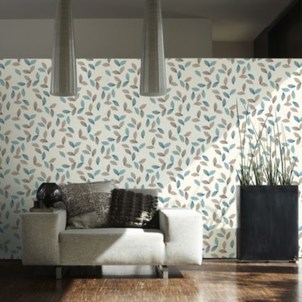 A s creation adrianna motif brown cream turquoise leaf wallpaper cream turquoise for Cream wallpaper for living room