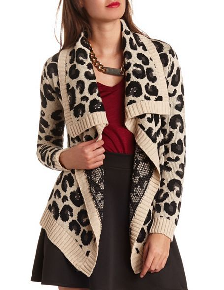 Tiered Leopard Open Sweater: Charlotte Russe