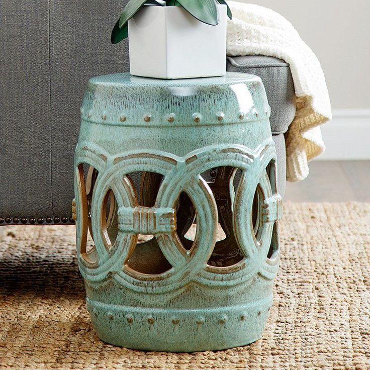 Outdoor Abbyson Living Yasmine Ceramic Garden Stool Teal - GT-N52701-GRN