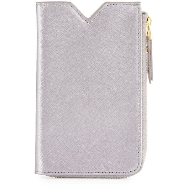 Neiman Marcus Leather Phone Case Zip Wallet (£21) ❤ liked on Polyvore featuring bags, wallets, pewter, zipper pouch, zip around wallet, genuine leather credit card holder wallet, leather zip pouch and zip pouch wallet