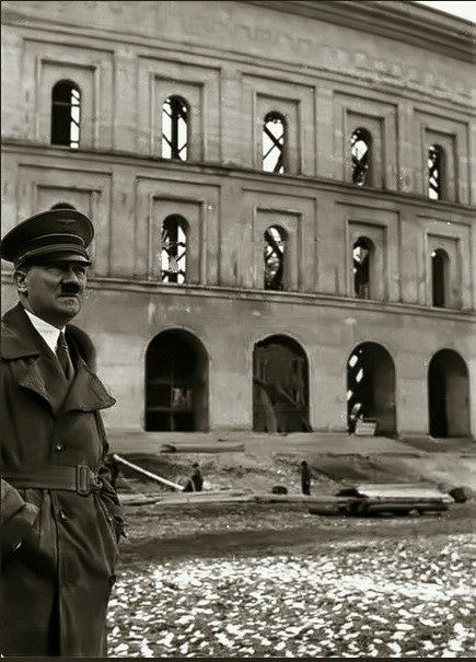 Hitler at a NAZI building project.
