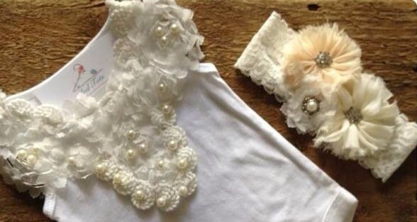 A gorgeous 'vintage' collar embellished top.Can be added to your choice of singlet, tshirt or long sleeve top. (White only)Headband not included sold separately ($14.95)Contains small parts not recommended for children under 3
