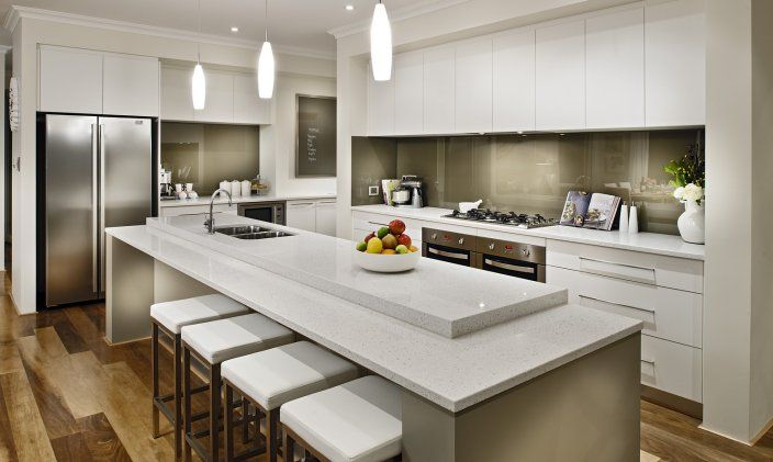 Gloss white kitchen with timber floors (disappearing around the side to the scullery!)