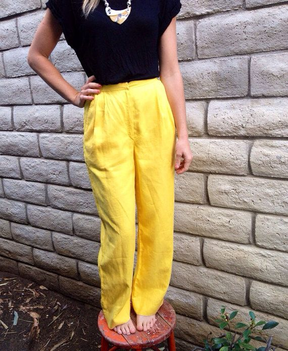 1980's Vintage Amen Wardy Valentino High Waist Pleated Tunic Yellow Pants--Size Small on Etsy, $65.00