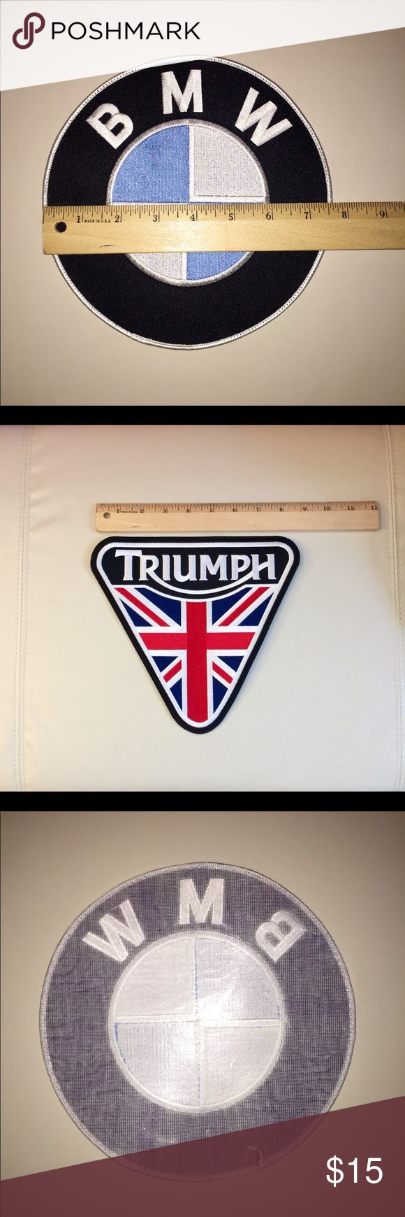 "Large BMW or Triumph patches . Iron or sew on. Choose which one you want , or both . BMW is 7.5"" and Triumph is 8.5"". These can be sewn or ironed on. Clean , no damage from a non smoking and pet free home. Listing is for one patch, your choice . If you want both let me know and I'll change the listing to a bundle price . $15 each or both for 26 BMW and Triumph Accessories"
