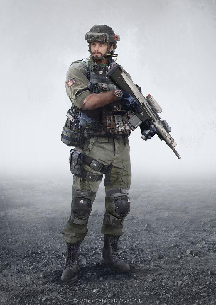 ArtStation Futuristic Soldier, Sander Agelink Military