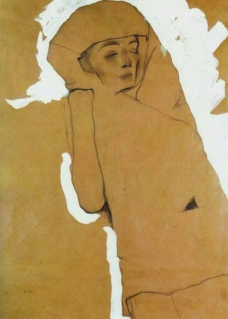 """lepetitmonsieurcocosse: """" Egon Schiele, 1911 """"I said nothing for a time, just ran my fingertips along the edge of the human-shaped emptiness that had been left inside me."""" Haruki Murakami """""""