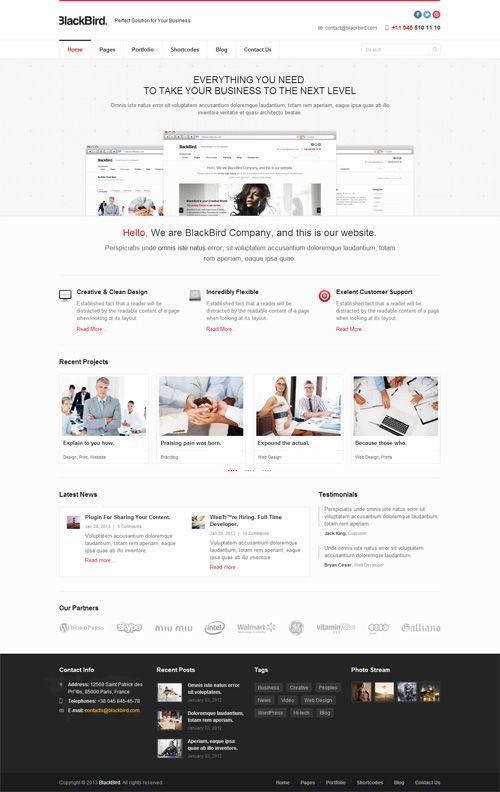 BlackBird - Responsive Multi-Purpose Theme #wordpressthemes #responsivewordpressthemes #flatdesign #responsivedesign