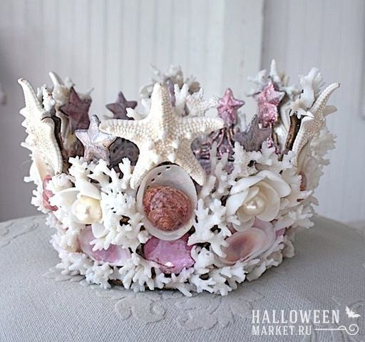#crown #mermaid #makeup #costume #halloweenmarket #halloween  #морскаятема #русалка Корона и прическа русалки на хэллоуин (фото)