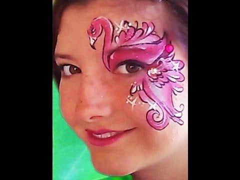 Flamingo Face Paint VIDEO Tutorial - http://www.facepaintingtips.com/blog/2013/07/24/flamingo-face-paint-design-video-tutorial/