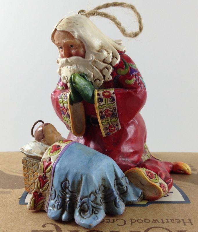 Jim Shore Santa Praying W Baby Jesus Christmas Hanging