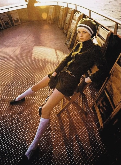Beautiful natural light...Twiggy on a boat in Manhattan, 1967. By Melvin Sokolsky.
