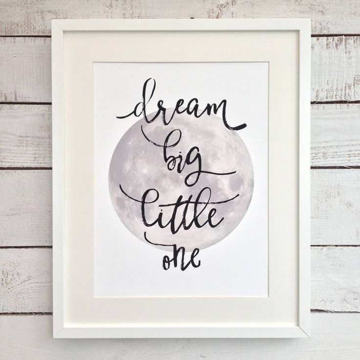 'Dream Big Little One' Moon Nursery Art Print. A delightful handmade nursery print made by British designers momo&boo.