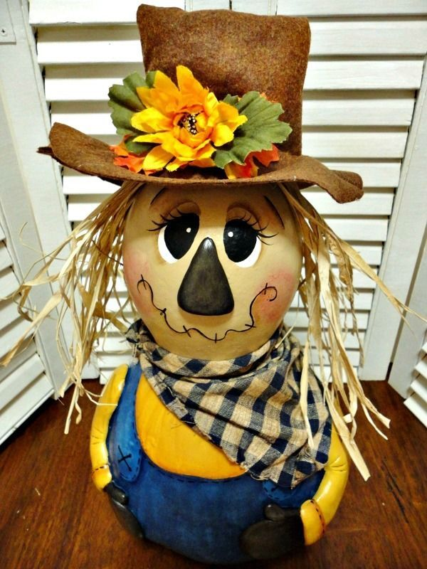 Handpainted Primitive Autumn Fall Scarecrow Gourd