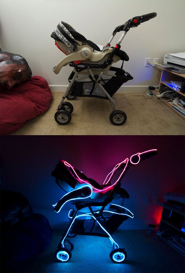 THE TRON BABY STROLLER PUTS YOUR INFANT INTO A GLOWING LIGHTCYCLEWeekend Projects, Decor Ideas, Baby Strollers, Tron Baby, Decorating Ideas, Future Kids, Tron Strollers, Parents Win, Electroluminescent Wire