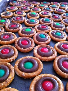 Sweet & Salty Christmas Treat (round pretzel & Hershey kiss in oven @225 for 3-4 min; pull out of the oven and add an M).. Try using peppermint kisses for a special treat