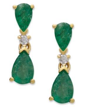 14k Gold Earrings, Emerald (1-1/5 ct. t.w.) and Diamond Accent Pear Drop Earrings