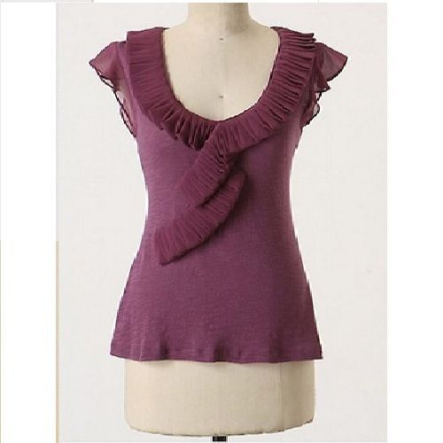 Deletta Anthropologie Purple Pleated Ruffle Blouse Shirt Small