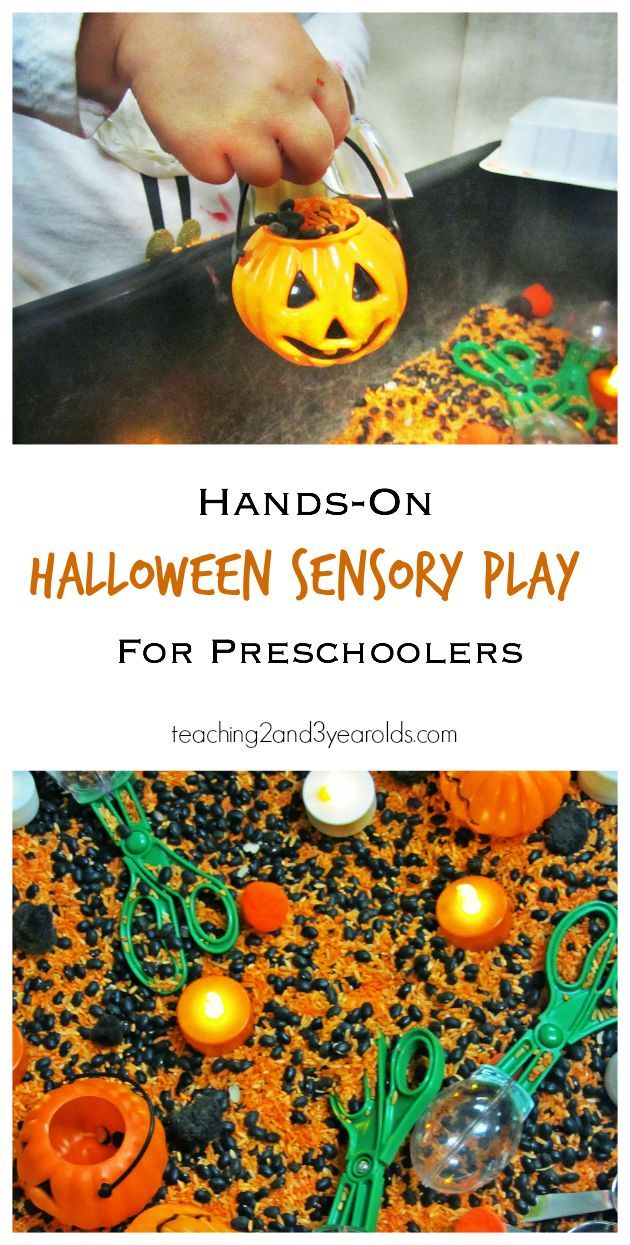 Halloween activity for preschoolers in the sensory bin - strengthens fine motor development - Teaching 2 and 3 Year Olds