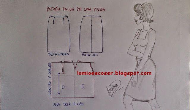 LO MIO ES COSER..... Y HACER PATRONES: Patrón base falda recta de una pieza
