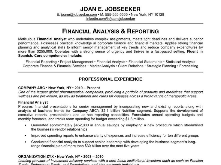 32 best Resume Example images on Pinterest Career choices - financial analyst resume example